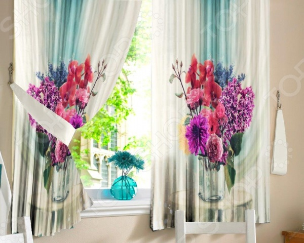 Шторы для кухни «Букет цветов» шторы для кухни drdeco шторы арка basilic дизайн 9