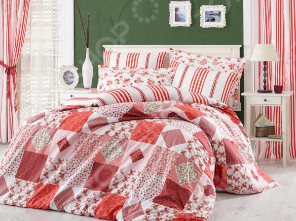 Комплект постельного белья Hobby Home Collection Clara. 1,5-спальный. Цвет: красный