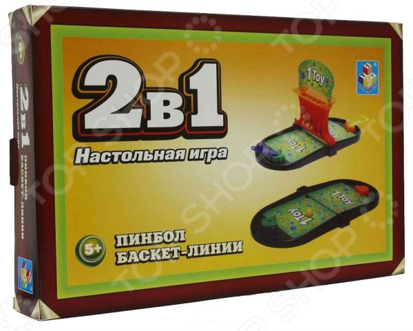 Игра настольная 2 в 1 1 TOY Т52454 Пинбол Баскет-линии игровой набор, состоящий из двух спортивных игр: баскетбола и пинбола. Игра удачно подходит как детям, так и взрослым, позволяя играть в одиночку или парой. Цель игры Пинбол отбить мячик с помощью пускового устройства и попасть им в ворота противника. За попадание начисляются очки, и, выигрывает тот, кто наберет большее количество голов. Правила игры в Баскет линии немного сложнее и потребуют больше сноровки и меткости. Перед началом игры каждый выбирает себе цвет шариков, которыми он будет играть. С помощью пускового механизма нужно забросить мячики в корзину. Выигрывает тот, кто выстроит ряд из 4 мячей своего цвета.