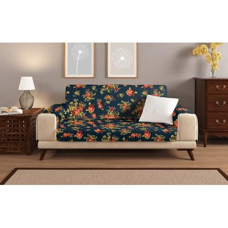Купить Универсальная накидка «Уютный дом» на двухместный диван. Цвет: синий