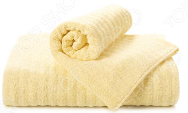 Полотенце махровое Aquarelle «Волна». Цвет: светло-желтый
