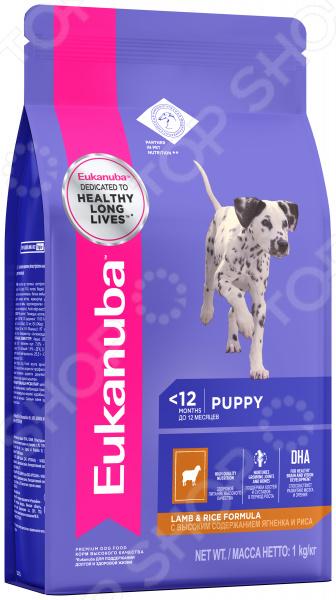 Корм сухой для щенков всех пород Eukanuba Puppy Lamb & Rice Formula цена