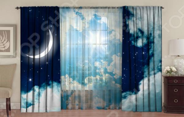 Комплект фотоштор с тюлем ТамиТекс «День ночь»