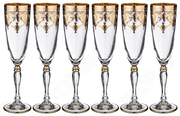Набор бокалов для шампанского ART DECOR «Амальфи» 326-040 набор бокалов crystalex джина б декора 6шт 210мл шампанское стекло