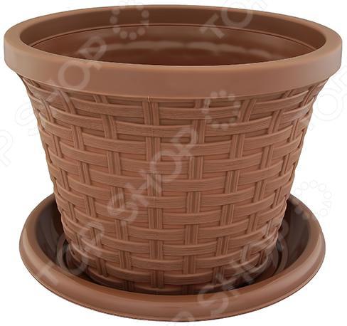 Кашпо круглое с поддоном Violet «Ротанг». Цвет: какао