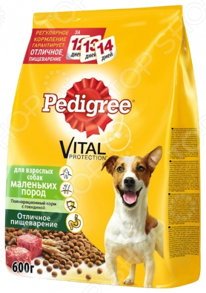 Корм сухой для собак маленьких пород Pedigree Vital PROTECTION «Отличное пищеварение» с говядиной
