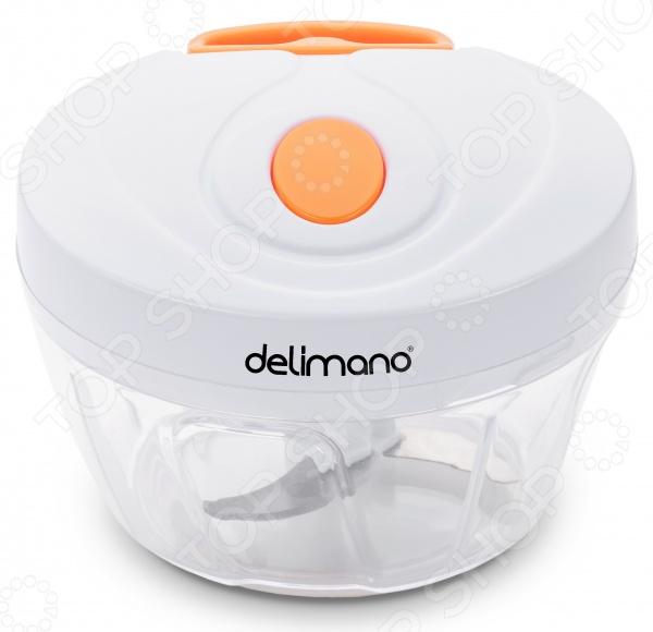 Всего несколько секунд и Вы подготовили ингредиенты для дальнейшего приготовления блюд! Все это благодаря новому мини-чопперу Delimano Brava! Всего несколько движений измельчены фрукты, овощи, орехи, шоколад и многое-многое другое! Устройство простое в работе, для работы устройства не требуется электричество или батареи! Это идеальное устройство, которое можно брать с собой в путешествие или в поход. Оно компактное, но при этом удобное в использовании - берите его с собой повсюду, куда бы вы не отправились. Поместите ингредиенты в емкость устройства, установите и зафиксируйте крышку, потяните за шнур для того, чтобы ножи-измельчители начали вращаться. Это устройство, которое должно быть на каждой кухне, вы быстро и легко измельчите и смешаете ингредиенты, при этом отсутствует необходимость возиться с электроприборами. Устройство можно использовать для измельчения, нарезания и пюрирования ингредиентов насадка для измельчения или для смешивания ингредиентов насадка для смешивания . Устройство используется для измельчения: фруктов, овощей, орехов, зелени, лука, чеснока, ингредиентов для соуса Сальса , салата, песто, салата из капусты, приготовления пюре, соусов, заправок . Уникальные свойства изделия:  устройство активируется вручную, однако без каких-либо усилий  для работы устройства не требуется электричество или батареи  универсальное устройство  устройство легко мыть  устройство оснащено противоскользящими ножками  компактное и удобное в использовании устройств Принцип работы:  Зафиксируйте в емкости насадку для измельчения или смешивания  Поместите в емкость ингредиенты  Накройте емкость крышкой и зафиксируйте крышку  Потяните за шнур 1-2-3 или более раз в зависимости от размера консистенции ингредиентов 3 лезвия сделаны из нержавеющей стали. В комплекте лопатка для перемешивания.