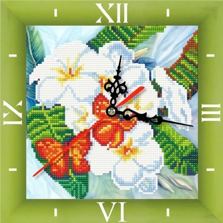 Купить Часы из алмазной мозаики Color Kit «Бабочки и магнолии»