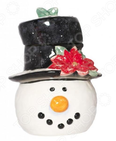 Банка для печенья Certified International «Снеговик в шляпе»