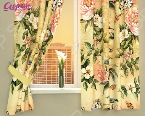 Фотошторы Сирень «Винтажные цветы» шторы для комнаты drdeco шторы цветы дизайн 21