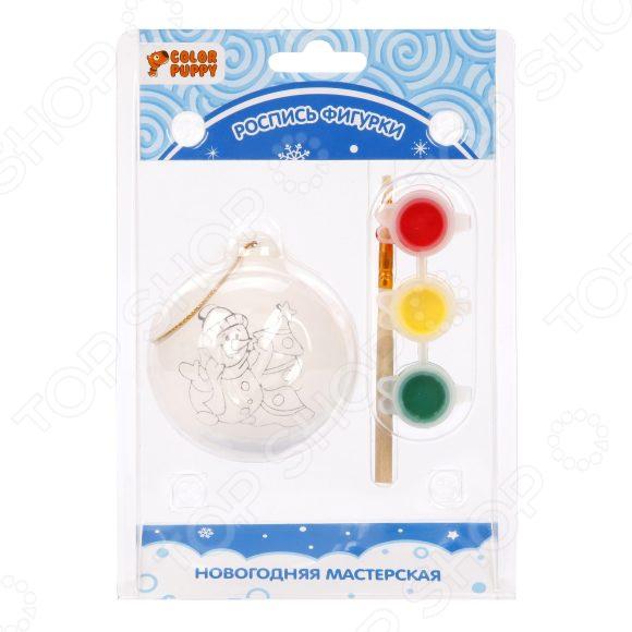 Роспись новогодней игрушки Color Puppy «Снеговик» игрушки для детей