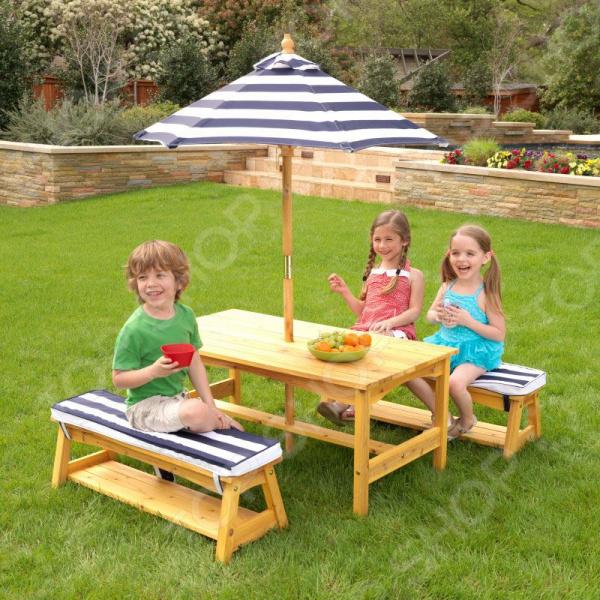 Набор: стол и скамейки с зонтом KidKraft 00106_KE 1