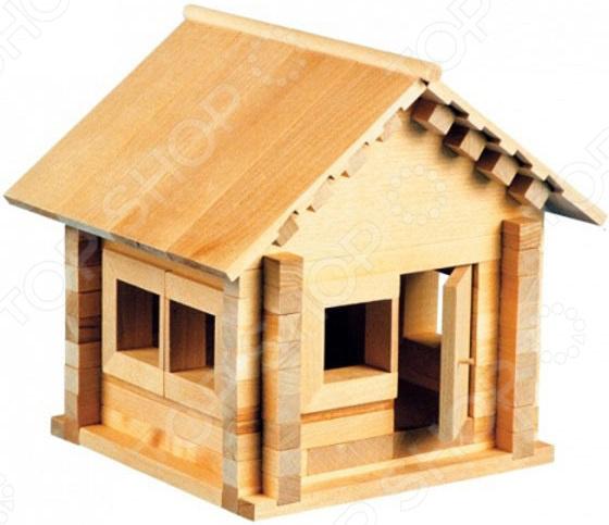 Конструктор деревянный со светом Теремок «Избушка: Теремок с мебелью»