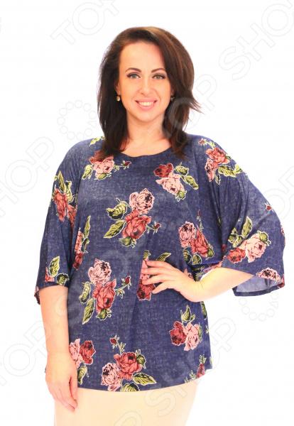 Блуза Wisell «Летний букет». Цвет: синий, розовый