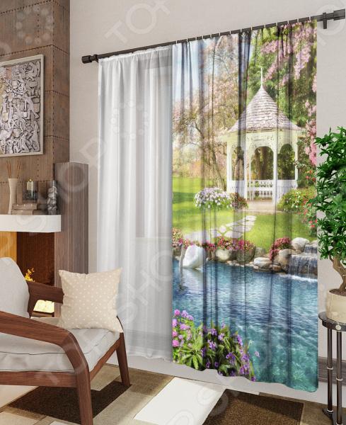 Комплект: фотоштора и тюль ТамиТекс «Тенистый сад» комплект шторы и тюль мартекс фиолетовый сад