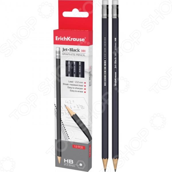 Набор карандашей простых Erich Krause Jet Black 101 - большой набор чернографитных карандашей в строгом деловом стиле, оснащенных ластиком. Графит оставляет след после легкого нажатия на карандаш и легко стирается с помощью ластика. Выполнены карандаши из качественного материала. Такой набор идеальное решения для офиса, а также может служить прекрасным дополнением к подарочным канцелярским наборам. В наборе находится 12 карандашей.