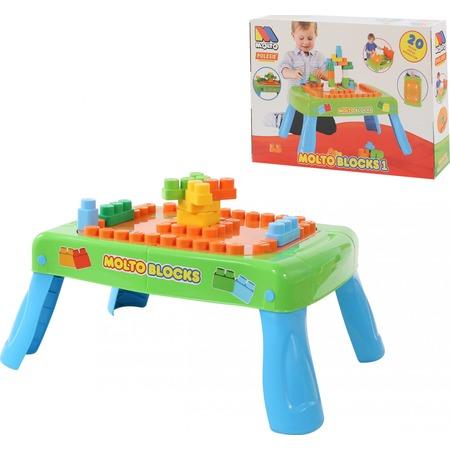Купить Столик с конструктором POLESIE Molto Blocks с элементами вращения