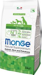 Корм сухой для собак Monge Natural Superpremium Rabbit, Rice and Potatoes