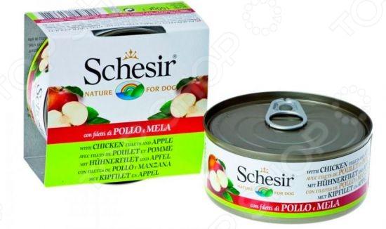 Корм консервированный для собак Schesir с куриным филе и яблоками