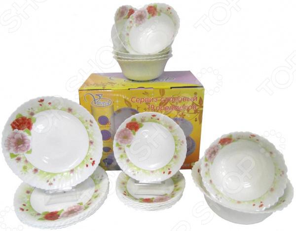 Сервиз столовый «Чайная роза». Количество предметов: 19 предметов