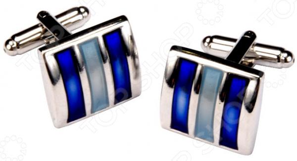 Запонки Mitya Veselkov «Классика с голубыми полосками» запонки mitya veselkov серебристые с эмалью