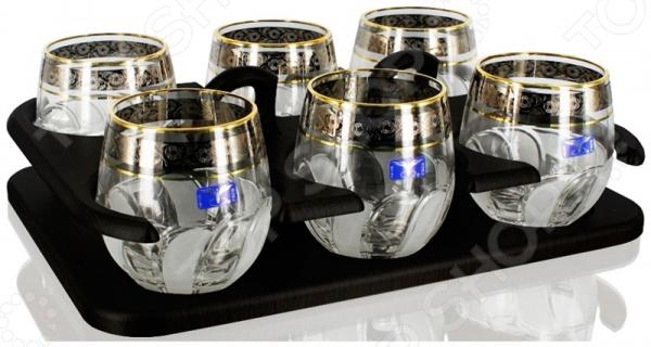 Набор стаканов со стойкой Гусь Хрустальный «Флорис» кубик для виски в москве