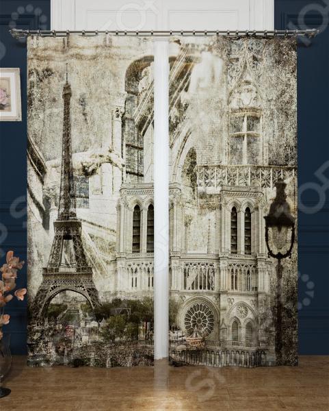 Фотошторы блэкаут Сирень «Париж в стиле ретро»