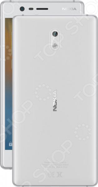 Смартфон Nokia 3 обеспечит стабильную связь и удобный доступ в интернет. Никакого торможения и зависания при просмотре видео, быстрый отклик в онлайн-играх, комфортное общение, прослушивание музыки, чтение и пр.  Данная модель обладает множеством преимуществ: прочность материалов, эргономичный дизайн, высокое качество изготовления, оптимальный баланс производительности и времени работы от аккумулятора. Это устройство станет отличным решением для современных людей.  Оцените преимущества модели  На устройстве установлена операционная система Android Nougat простой и понятный в управлении интерфейс. Регулярная проверка обновлений ПО обеспечивает высокую степень защиты и поддержку новых функций.  Высокопрочный корпус из поликарбоната и каркас из алюминия. Смартфон очень удобен в использовании, легко помещается в кармане.  Оптимальная цветопередача и контрастность изображения с IPS матрицей. Даже в солнечную погоду вам гарантированы комфортный просмотр видео и взаимодействие с приложениями.  Яркий поляризованный HD-дисплей повышенной прочности Corning Gorilla Glass.  Делайте снимки в любой момент и совершайте видео-вызовы, используя основную фото- и видеокамеру 8 Мп и фронтальную камеру для селфи 8 Мп . Основная камера снабжена автоматически настраиваемым фокусом и светодиодной вспышкой.  Внутренняя память 16 Гб; если объем собранной информации превышает объем встроенной памяти, воспользуйтесь дополнительной картой microSD объемом до 128 ГБ для нее предусмотрен слот .  Поддержка работы 2 SIM-карт, чтобы вы могли комфортно общаться с пользователями разных мобильных операторов.  Комфортное взаимодействие с приложениями благодаря высокопроизводительному 4-х ядерному процессору MediaTek 6737.  Подключения micro-USB USB 2.0 , USB OTG On-the-Go , Wi-Fi.  Поддержка сетей LTE 4G для быстрой загрузки данных и воспроизведения потоковой музыки видео. Скорость загрузки данных 150 Мбит с, скорость отправки 50 Мбит с.