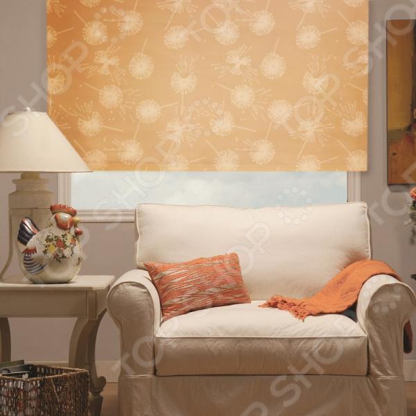 Рулонная штора Эскар «Одуванчик». Цвет: светло-абрикосовый
