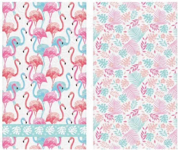Комплект из 2-х кухонных полотенец Солнечный Дом «Фламинго»