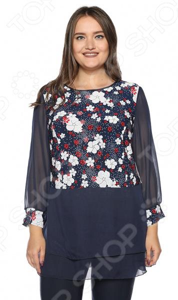 Блуза ТРЕНД «Легкий образ». Цвет: синий, белый блуза тренд безупречная цвет синий бирюзовый