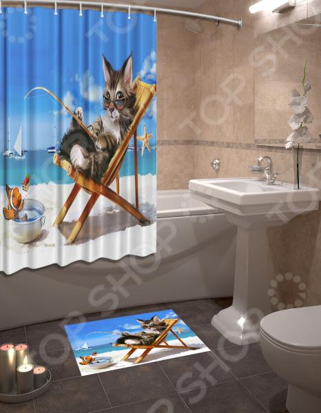 Набор для ванной комнаты: шторка и коврик ТамиТекс «Кот  пляже»