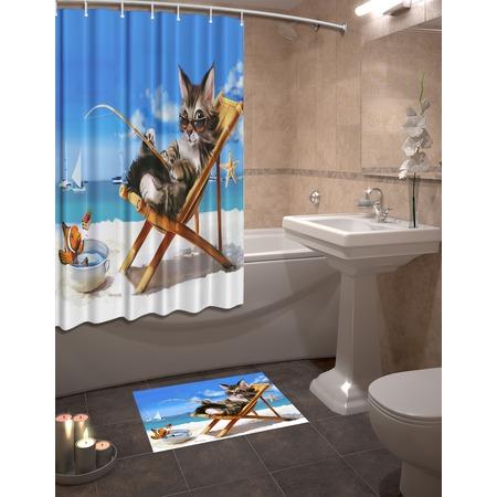 Купить Набор для ванной комнаты: шторка и коврик ТамиТекс «Кот на пляже»