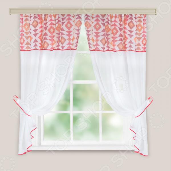 Комплект легких штор WITERRA «Кристалл. Этно». Цвет: красный