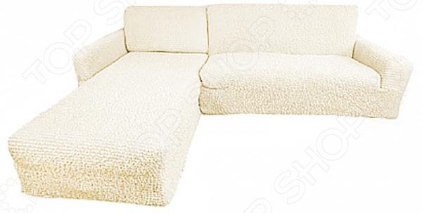 Zakazat.ru: Натяжной чехол на угловой диван с выступом слева Еврочехол «Микрофибра. Ваниль»