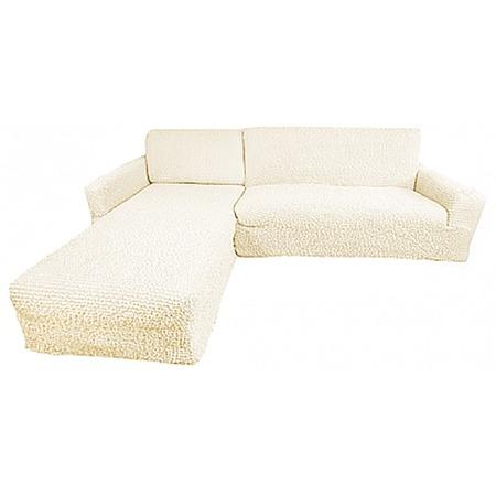 Купить Натяжной чехол на угловой диван с выступом слева Еврочехол «Микрофибра. Ваниль»