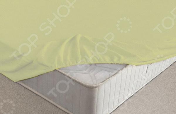 Простыня на резинке Ecotex махровая. Цвет: салатовый