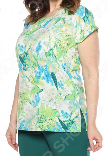 Блуза PreWoman «Ароматный букет». Цвет: белый, зеленый недорго, оригинальная цена