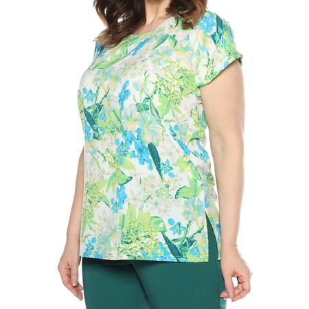 Купить Блуза PreWoman «Ароматный букет». Цвет: белый, зеленый