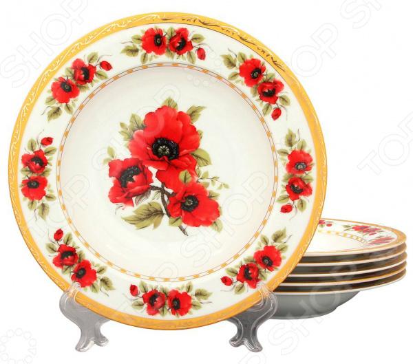 Набор суповых тарелок Elan Gallery Маки идеально подходит для сервировки как праздничного застолья, так и ужина в тихом и уютном домашнем кругу. Представленный комплект также можно использовать в качестве сервировочной посуды в местах общественного питания. Вы можете подать в тарелках не только суп, но и салаты, соленья или закуску. Тарелки изготовлены из высококачественной керамики и дополнены декоративным рисунком. Этот материал издавна вошел в обиход человека, ведь его главными свойствами являются натуральность и экологичность. Современный стиль и универсальная цветовая гамма изделий придадут вашему ужину еще большей гармонии, эмоциональной наполненности и добавят нотку романтичности. Какие преимущества у набора суповых тарелок Elan Gallery Маки  Изготовлен из качественных материалов и дополнен изящным рисунком.  Имеет интересный дизайн, поэтому не останется незамеченным.  Универсален в применении.  Подойдет в качестве подарка для ваших любимых, родных и близких.