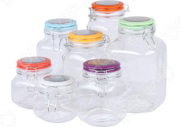 Набор банок для сыпучих продуктов Rosenberg RGL-220016-7 набор питьевой rosenberg цвет прозрачный 7 предметов rgl 795012