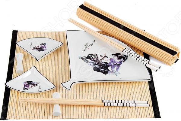 Набор для суши на 2 персоны 13811 комплект посуды и дополнительных принадлежностей японской кухни. Он представлен тарелкой для суши, двумя комплектами палочек и двумя емкостями для соевого соуса, а также парой подставок для палочек и циновками. Такой комплект идеально подойдет для поклонников восточного деликатеса, которые предпочитают готовить его собственными руками. Японцы крайне щепетильно относятся к вопросам еды, поэтому тем, кто решается приготовить суши в домашних условиях и желает полностью погрузиться в особую атмосферу восточной кухни, также нужно обзавестись всеми необходимыми элементами в частности, специальным набором для суши. Изготовлен он из натуральных материалов, керамики и бамбука, поэтому будет идеально сочетаться с продуктами питания. Циновка защитит поверхность стола от загрязнений и ограничит территорию приема пищи, чтобы вы чувствовали себя максимально комфортно. Изделия из керамики рекомендуется очищать в теплой воде без использования моющих средств с абразивными включениями.
