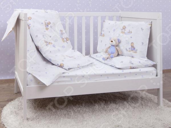 Ясельный комплект постельного белья MIRAROSSI Bimbo blue