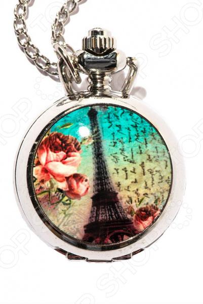 Кулон-часы Mitya Veselkov «Париж на бирюзовом фоне»