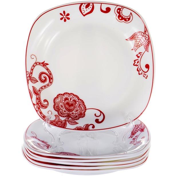 фото Набор десертных тарелок OlAff «Красные цветы»