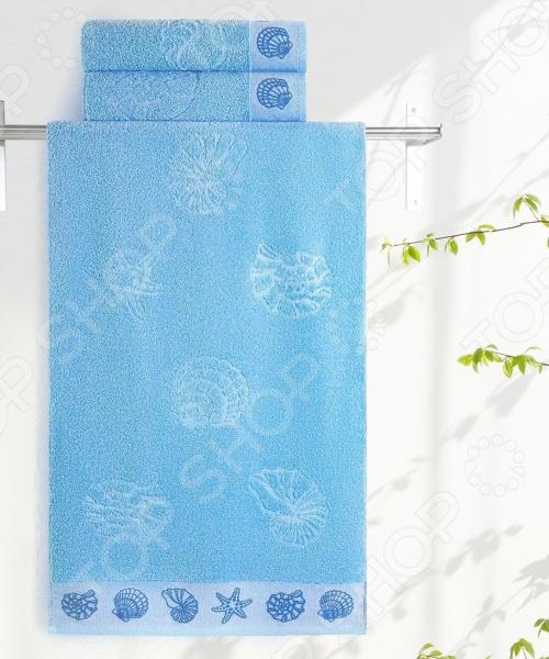 Фото - Полотенце махровое Aquarelle «Ракушки». Цвет: васильковый полотенце minimoto ya04462