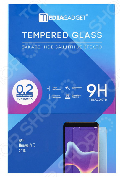 Стекло защитное Media Gadget для Huawei Y5 2018 Hybrid аксессуар защитное стекло для oppo f7 2018 media gadget 2 5d full cover glass black frame mgfcof718bk