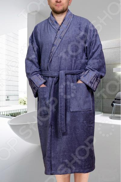 Халат махровый мужской Hobby Home Collection Eliza. Цвет: серый