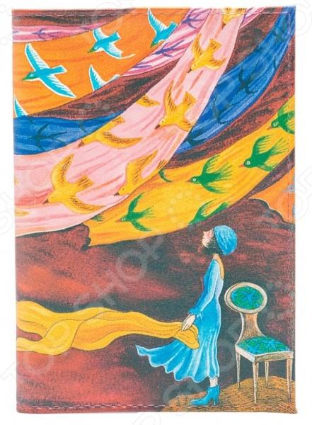Обложка для паспорта кожаная Mitya Veselkov «Платки и птицы»