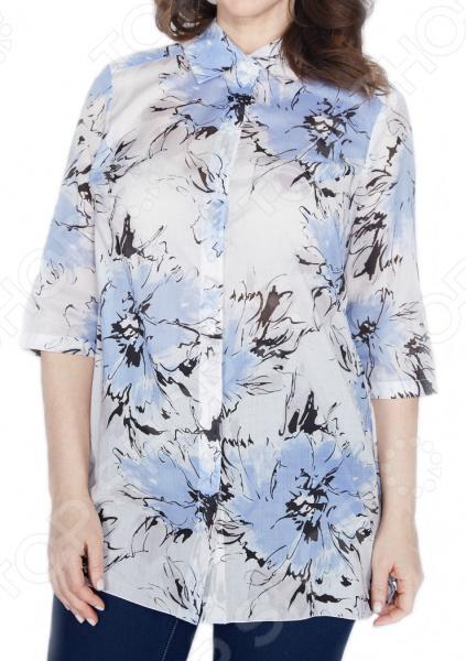 Блуза Prima Linea «Голубые Багамы». Цвет: белый, голубой недорго, оригинальная цена